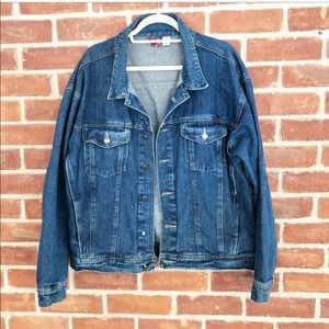 Vintage oversized medium wash denim jacket